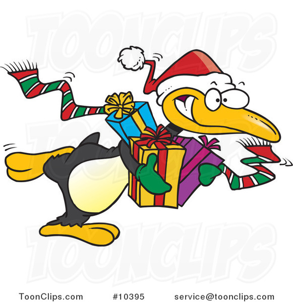 Cartoon Giving Christmas Penguin