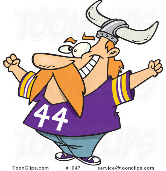 Cartoon Viking Fan Wearing a Purple Shirt and Helmet and Cheering