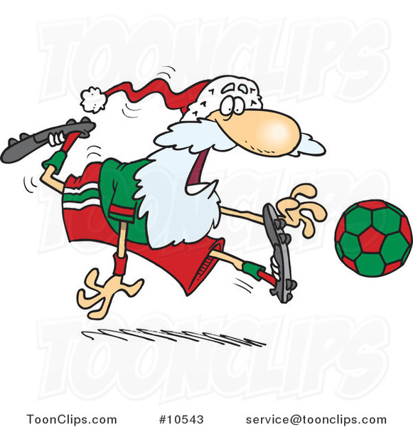 Cartoon Santa Playing Soccer