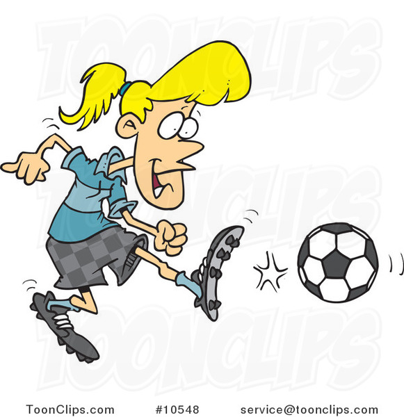 Cartoon Soccer Girl Kicking