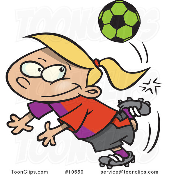 Cartoon Soccer Girl Doing a Kick Trick