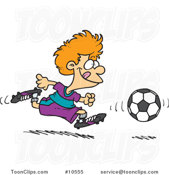 Cartoon Boy Running After a Soccer Ball