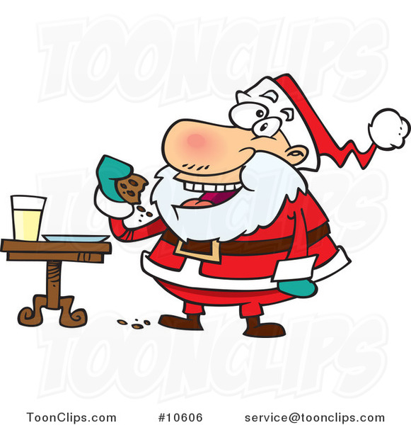Cartoon Santa Eating Cookies