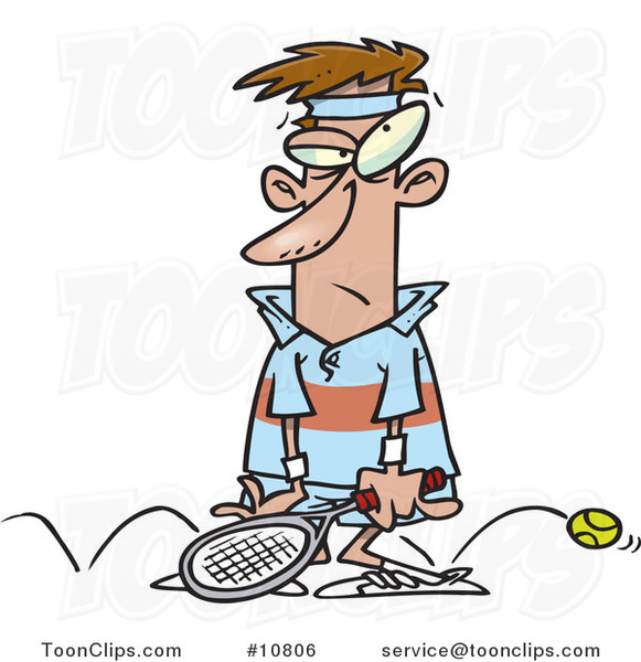 Cartoon Sore Tennis Loser