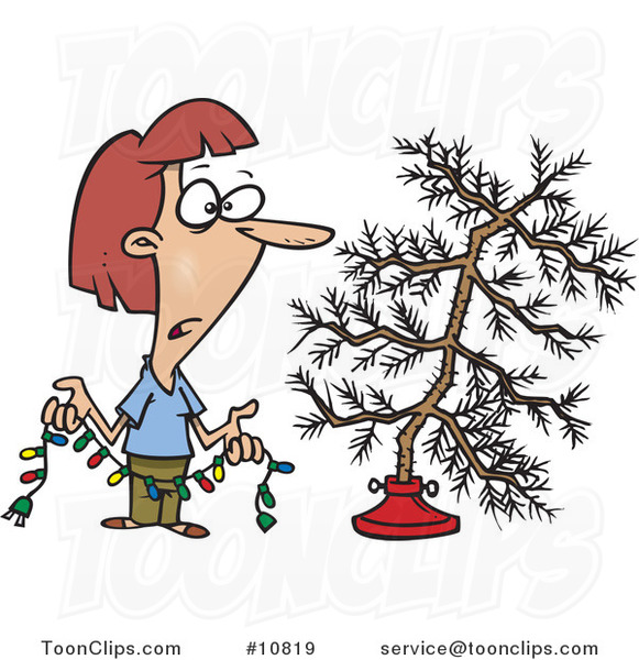 Cartoon Lady Decorating a Sparse Xmas Tree