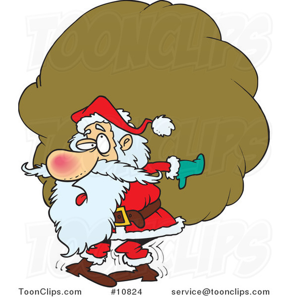 Cartoon Santa Carrying a Heavy Sack