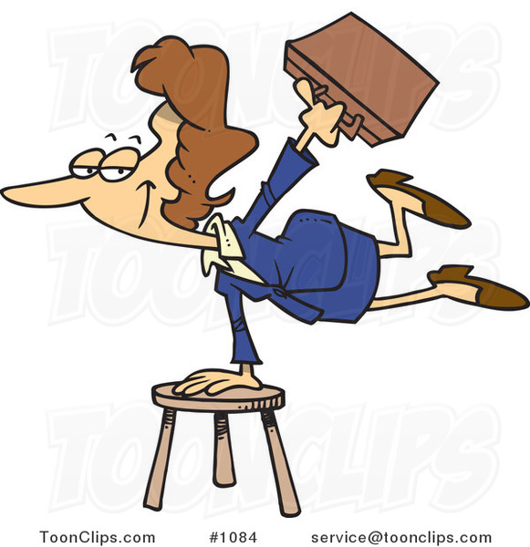 Cartoon Versatile Business Woman Balancing on a Stool