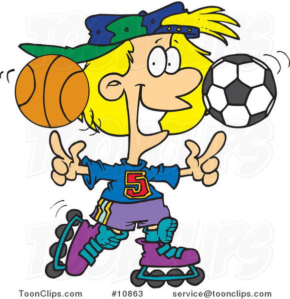 Cartoon Sporty Girl Roller Blading with a Basketball and Soccer Ball