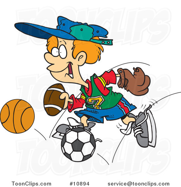 Cartoon Sporty Boy with a Baseball Glove, Basketball, Football and Soccer Ball