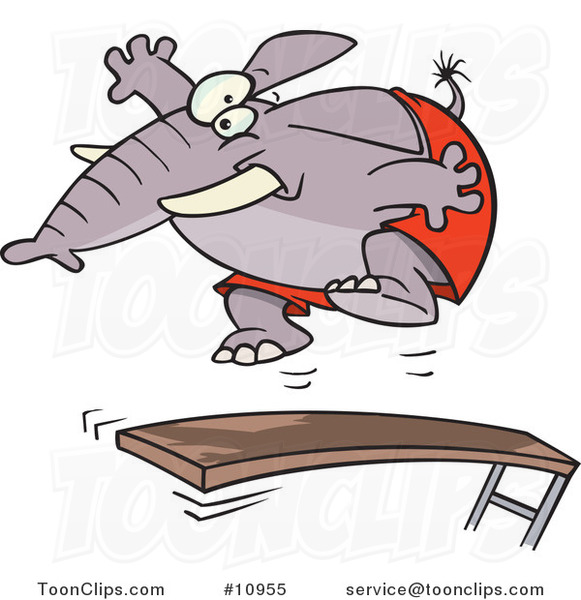 Cartoon Elephant Jumping on a Diving Board