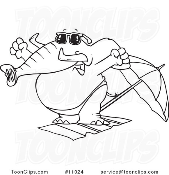 Line Drawing Beach : Cartoon black and white line drawing of a beach elephant