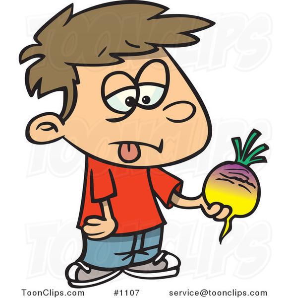 Cartoon Disgusted Boy Holding a Turnip #1107 by Ron Leishman  Cartoon Disgust...