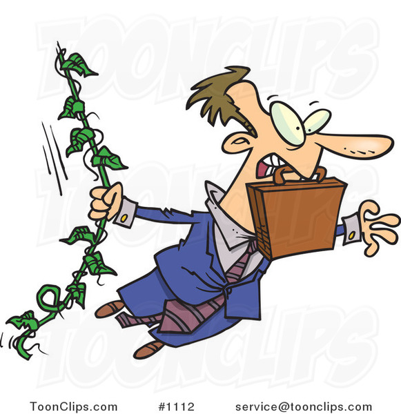 Cartoon White Business Man Swinging from a Vine like Tarzan