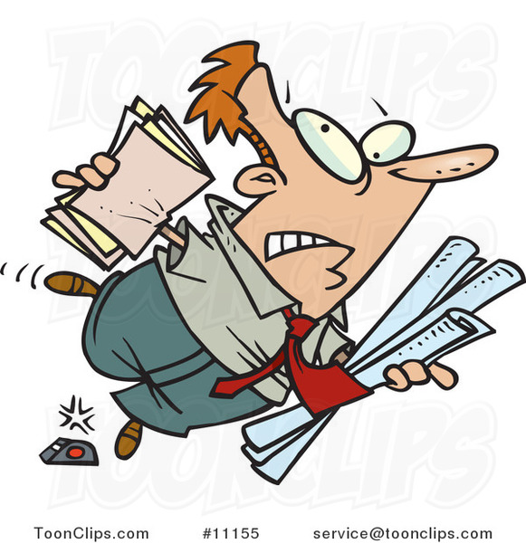 Cartoon Clumsy Business Man Stumbling