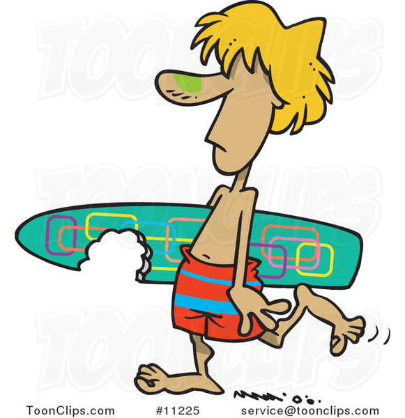 Cartoon Surfer Dude Carrying a Shark Bitten Board