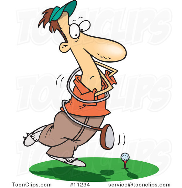 Cartoon Swinging Golfer Getting Tangled in a Club