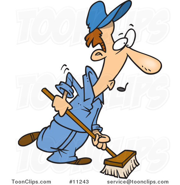 Cartoon Janitor Using A Push Broom 11243 By Ron Leishman