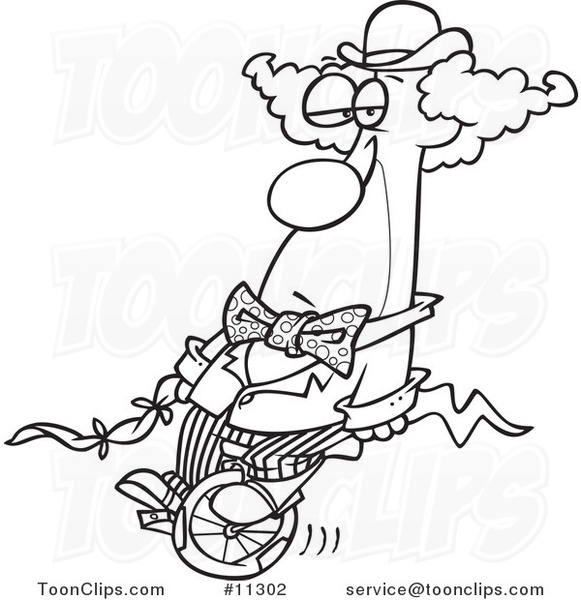 Line Art Unicycle : Cartoon line art design of a bored clown on unicycle