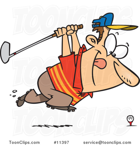 Cartoon Approaching Golfer