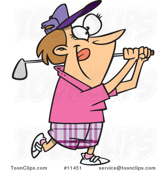 Cartoon Lady Swinging a Golf Club