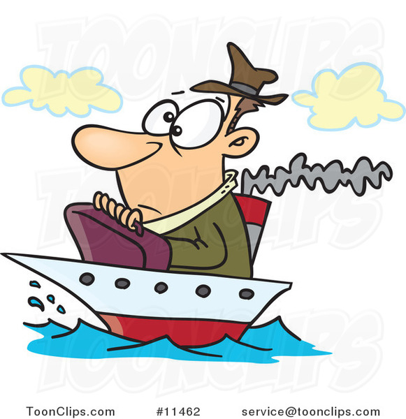Cartoon Guy on a Tiny Ship