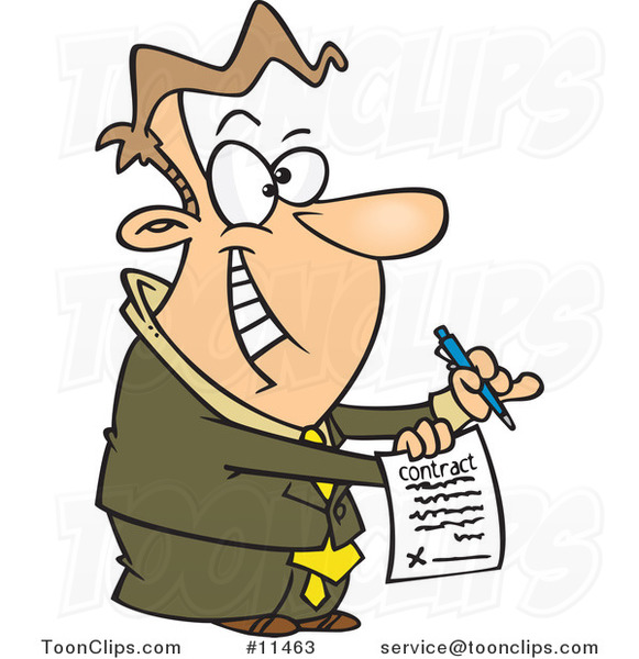 Cartoon Eager Business Man Holding a Contract