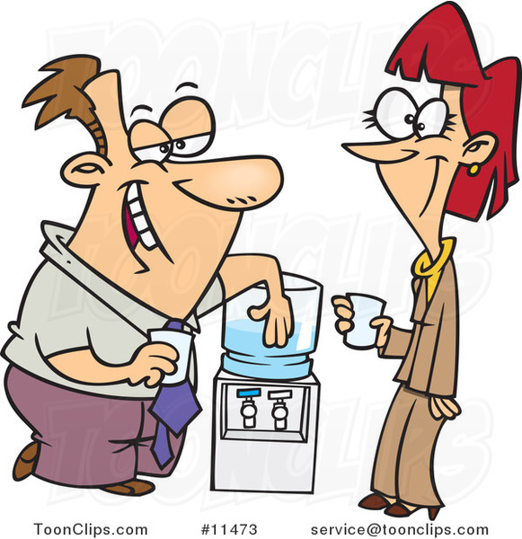 Cartoon Colleagues Flirting at the Water Cooler