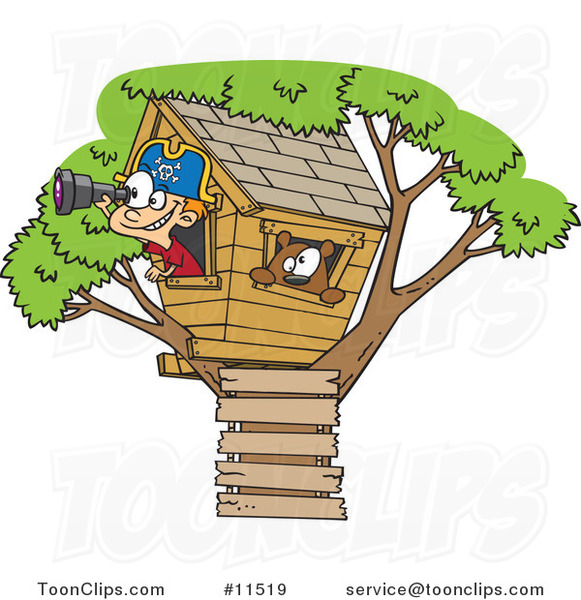 Cartoon White Pirate Boy in His Tree House