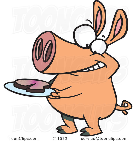 Cartoon Pig with Meat on a Plate