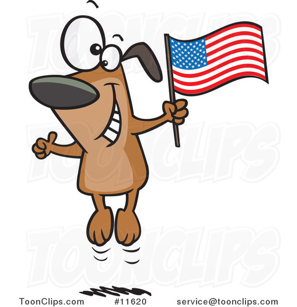 Cartoon American Dog Jumping