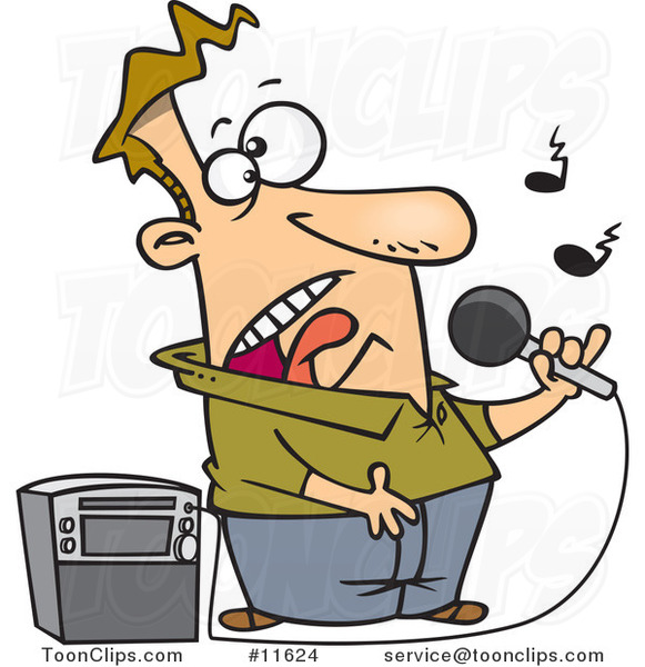 Cartoon Guy Singing Karaoke