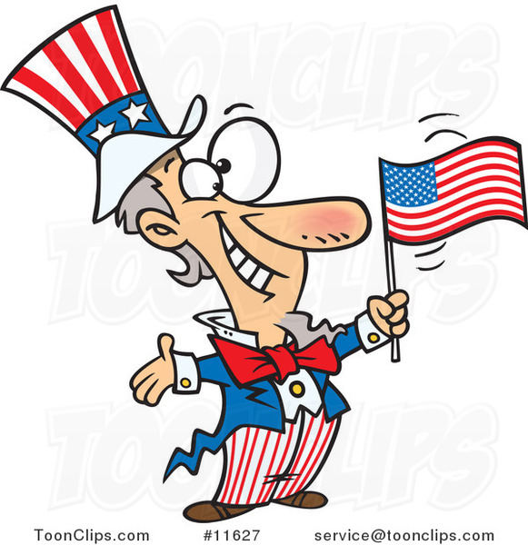 Cartoon Patriotic Uncle Sam