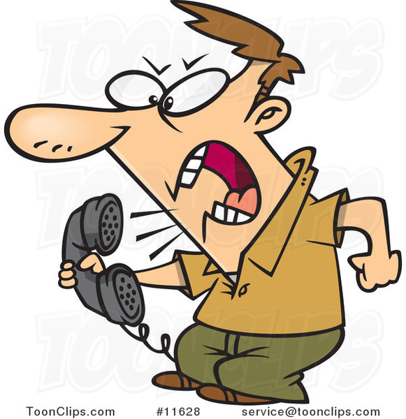 Cartoon Irate Guy Screaming into the Phone