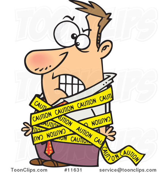 Cartoon Business Man Tied in Caution Tape