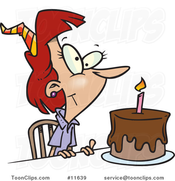 Cartoon Birthday Lady with Candle on a Birthday Cake