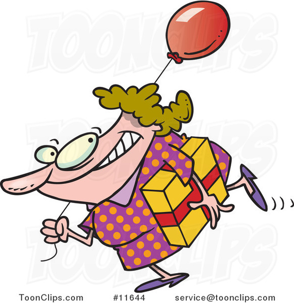 Cartoon Birthday Girl in a Polka Dot Dress, Carrying a Present and Balloon