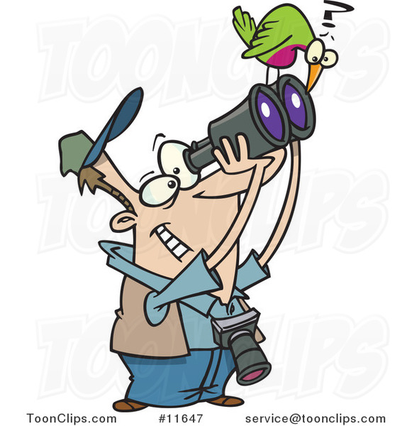Cartoon Bird on a Guy's Binoculars