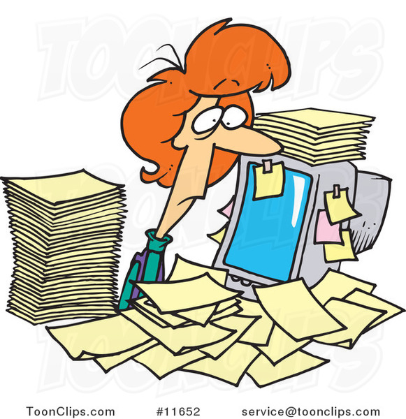 Cartoon Business Woman Surrounded by Paperwork at Her Office Desk