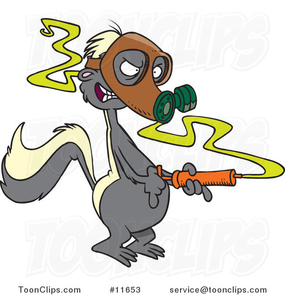 Cartoon Stinky Skunk Wearing a Gas Mask and Spraying