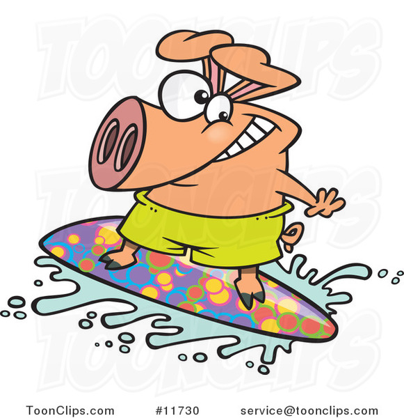 Cartoon Surfer Pig Riding a Wave