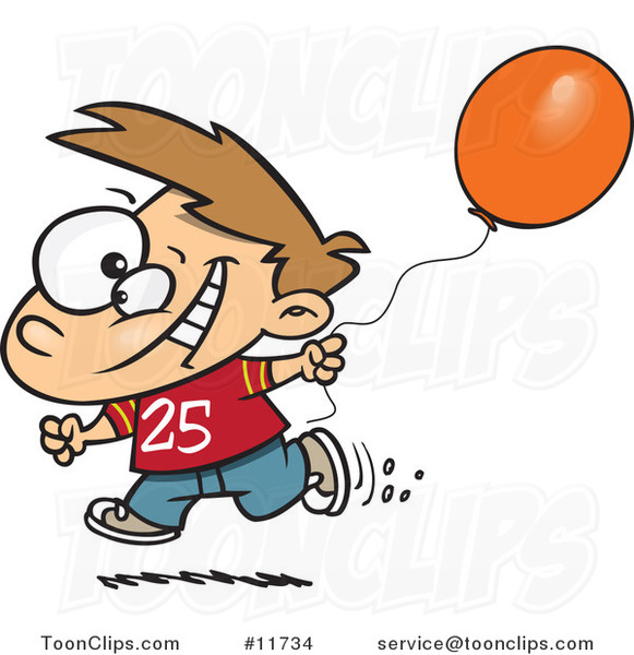 Cartoon Birthday Boy Running with a Party Balloon