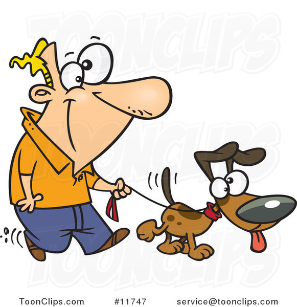 Cartoon guy walking his dog on a leash 11747 by ron leishman