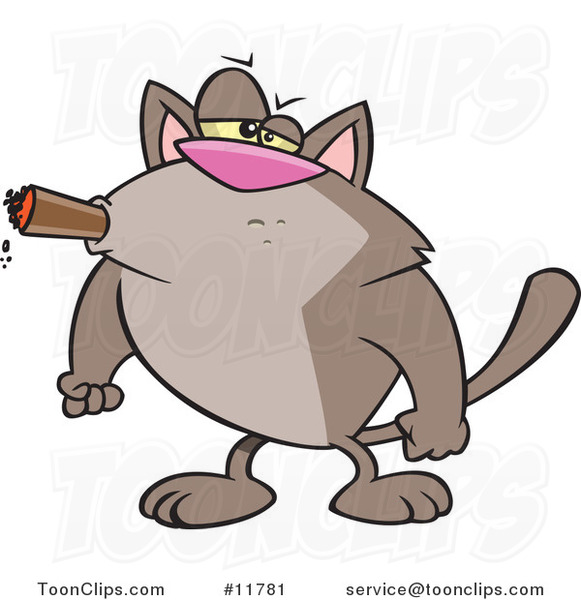 Cartoon Tough Cat Smoking a Cigar