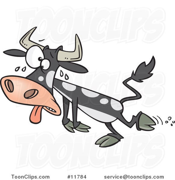 Cartoon Sweating Hot Cow