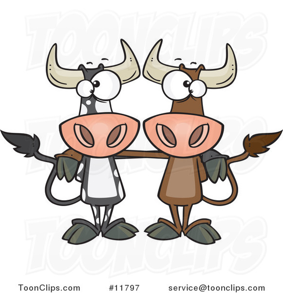 Cartoon Bull Cow Buddies