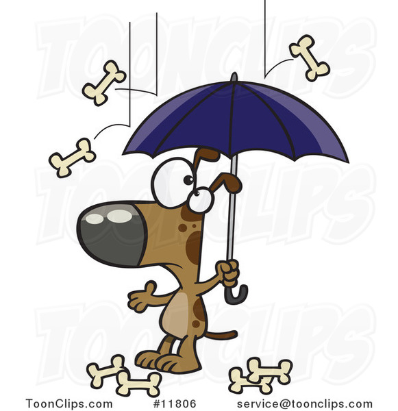 Cartoon Dog Character Under an Umbrella in Bone Rain