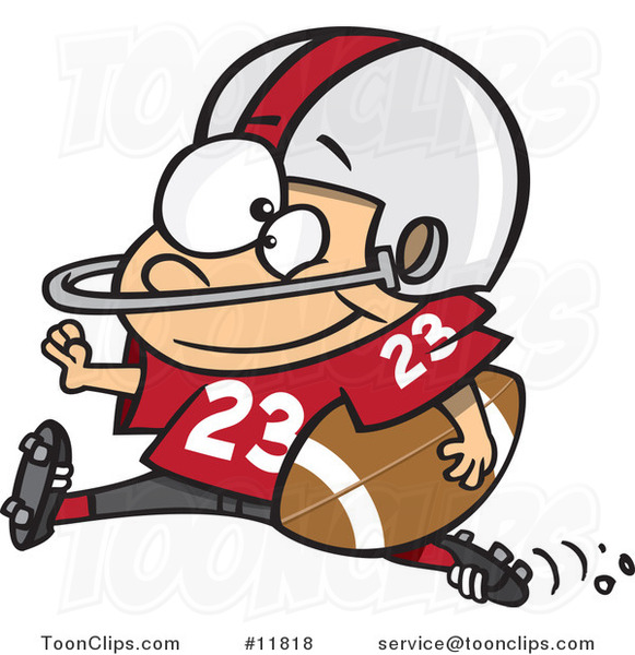 Cartoon Football Halfback Running