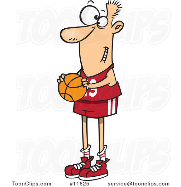 Cartoon Skinny Basketball Player Holding a Ball