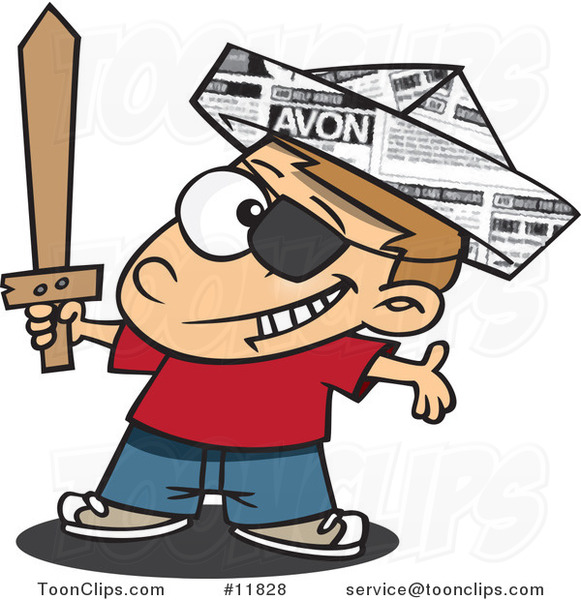 Cartoon Pirate Boy with a Newspaper Hat and Sword