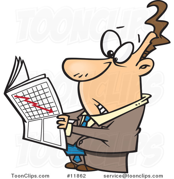 Cartoon Business Man Reading the Stock Market News